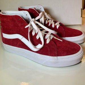 vans sk8 hi red suede rumba US Men 6.5